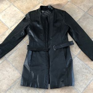 ❤️ Danier black leather long jacket